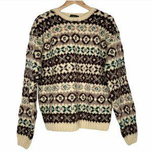 Vintage J. Crew Fair Isle Wool Sweater   Large